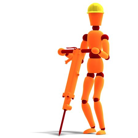 air hammer: 3D rendering of a orange  red  manikin as a worker with jackhammer with clipping path and shadow over white Stock Photo