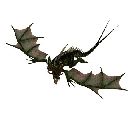 beast creature: 3D rendering of a giant terrifying dragon with wings and horns attacks