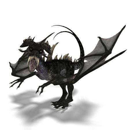 terrifying: 3D rendering of a giant terrifying dragon with wings and horns attacking Stock Photo