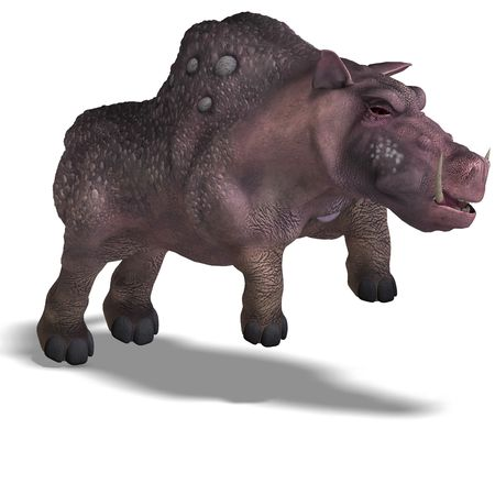 enormous: 3D rendering of a fantasy boar with huge tusks