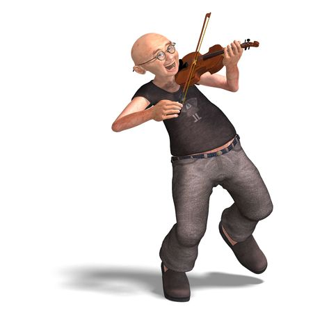 fiddles: 3D rendering of a funny senior playing the violin with clipping path and shadow over white Stock Photo