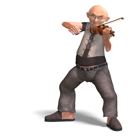 elder: 3D rendering of a funny senior playing the violin