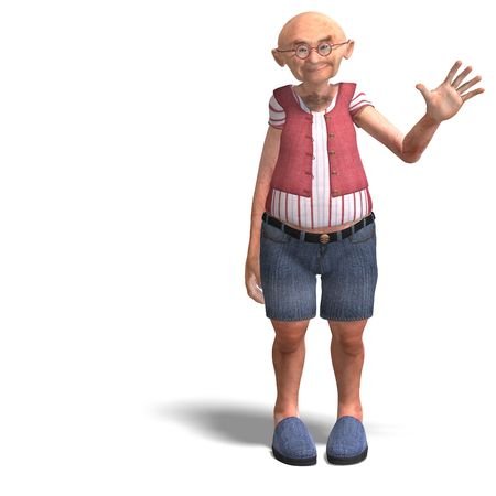 elder: 3D rendering of a cute elder man in short trousers Stock Photo
