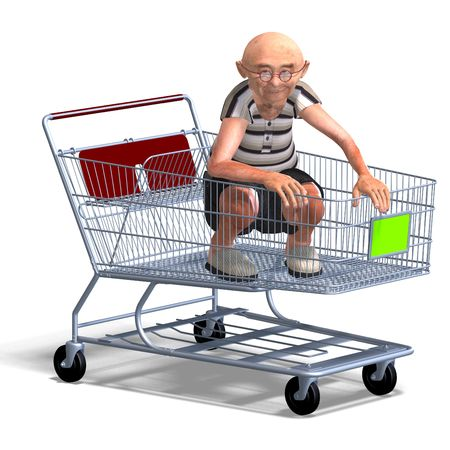 3D rendering of a a funny senior with webpage elements photo