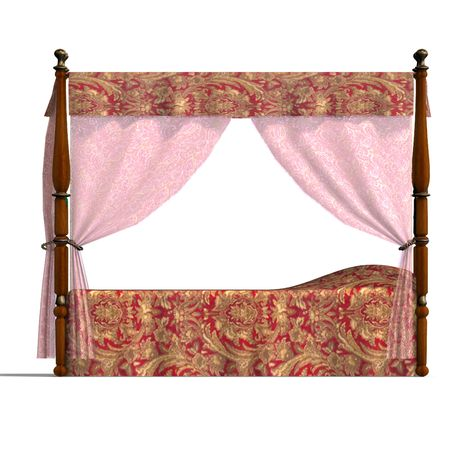 controling: 3D rendering of the canopy bed of louis XV