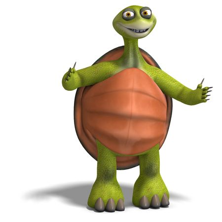 slowly: 3D rendering of a funny toon turtle enjoys life
