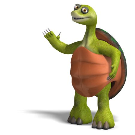 casing: 3D rendering of a funny toon turtle enjoys life
