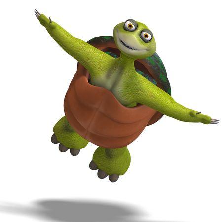 despacio: Representación 3D de una tortuga de toon divertido goza de vida Foto de archivo