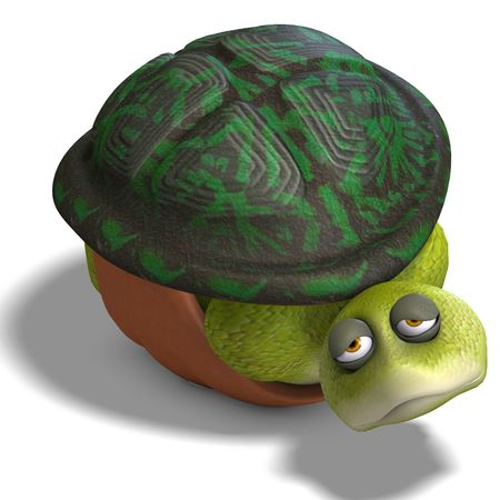mournful: 3D rendering of a funny toon turtle enjoys life