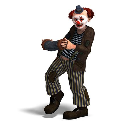 tomfool: 3D rendering of a funny circus clown with lot of emotions with clipping path and shadow over white