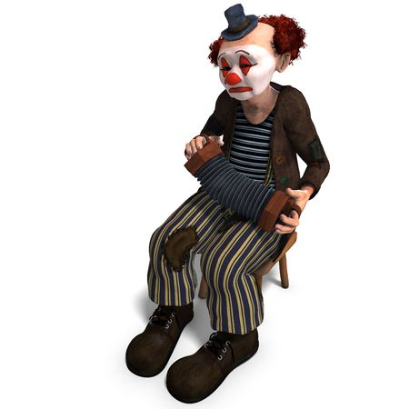 3D rendering of a funny circus clown with lot of emotions photo