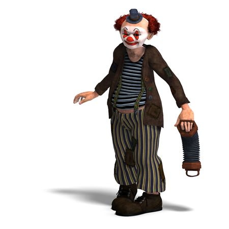 tomfool: 3D rendering of a funny circus clown with lot of emotions