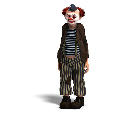 3D rendering of a funny circus clown with lot of emotions with clipping path and shadow over white