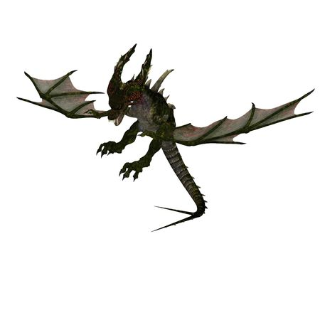 terrifying: 3D rendering of a giant terrifying dragon with wings and horns attacks