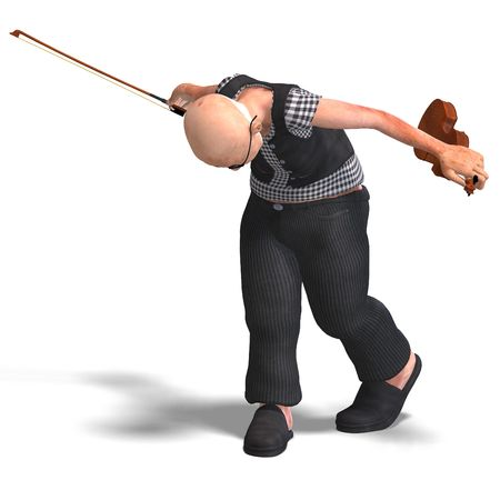applause: 3D rendering of a funny senior playing the violin