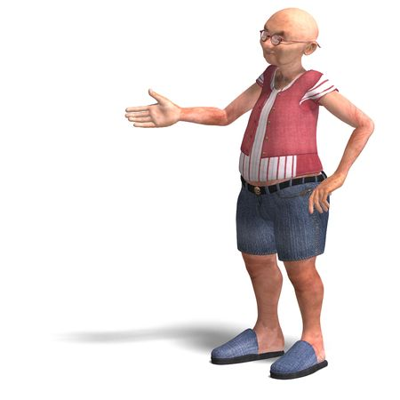 upright: 3D rendering of a cute elder man in short trousers Stock Photo