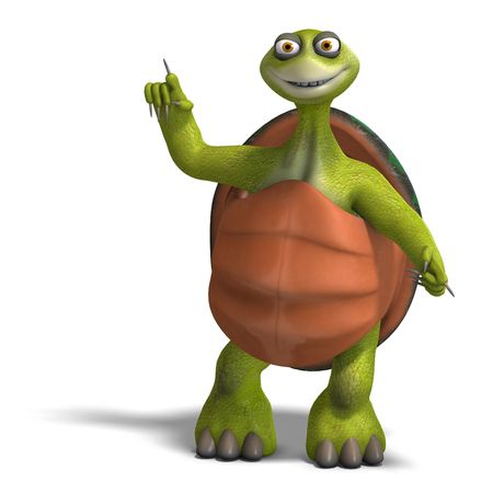 3D rendering of a funny toon turtle enjoys life