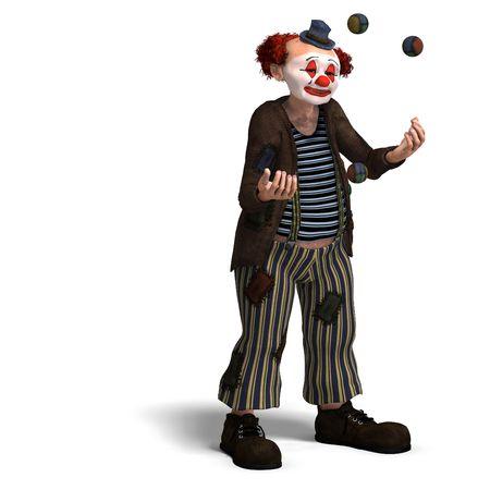 jugglery: 3D rendering of a funny circus clown with lot of emotions