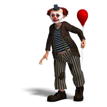 daft: 3D rendering of a funny circus clown with lot of emotions