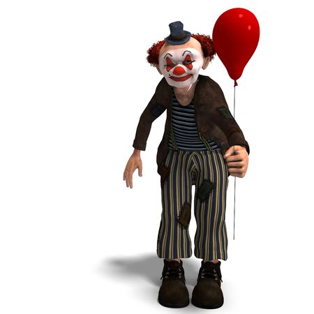 buffoon: 3D rendering of a funny circus clown with lot of emotions