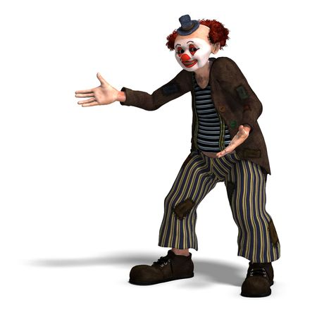 3D rendering of a funny circus clown with lot of emotions