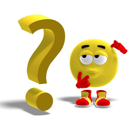 3D rendering of a cool and funny emoticon with a question mark