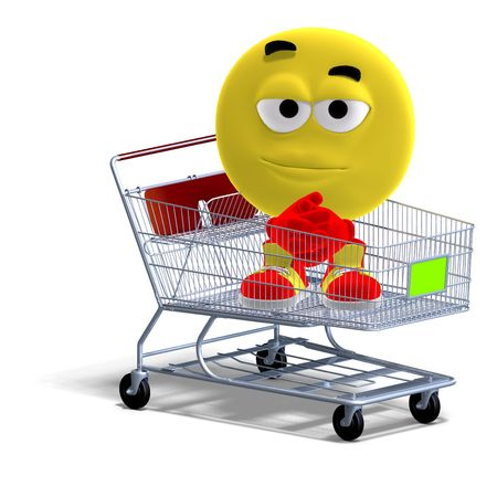 3D rendering of a cool and funny emoticon sitting in a shopping cart photo