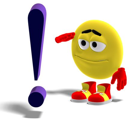 3D rendering of a cool and funny emoticon says yes mr. exclamation mark photo