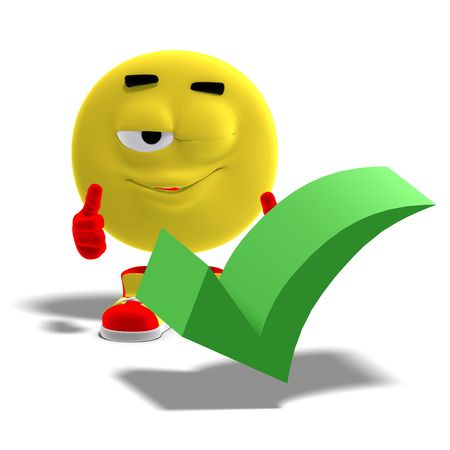 accordance: 3D rendering of a cool and funny emoticon who yes to a checkmark Stock Photo