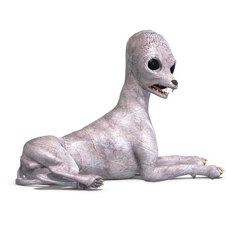 daemon: strange alien dog from area 51. Stock Photo