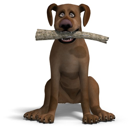 the cute and funny toon dog is a bit silly. Stock Photo - 7034517