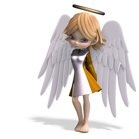lassie: cute cartoon angel with wings and halo. Stock Photo