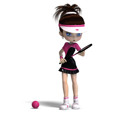 sporty toon girl in pink clothes plays tennis.