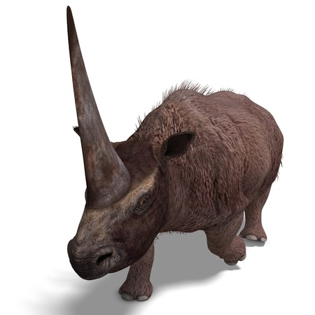 Dinosaur Elasmotherium. 3D rendering with clipping path and shadow over white photo