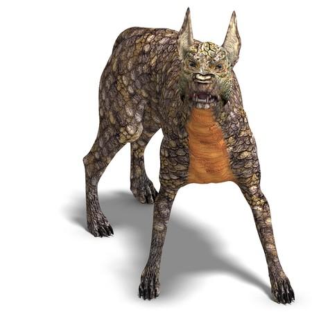 daemon: dangerous alien dog with lizard skin.