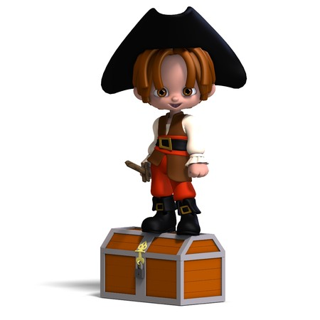 treasure trove: sweet and funny cartoon pirate with hat.