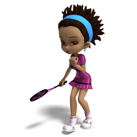 lassie: sporty toon girl in pink clothes plays tennis. Stock Photo