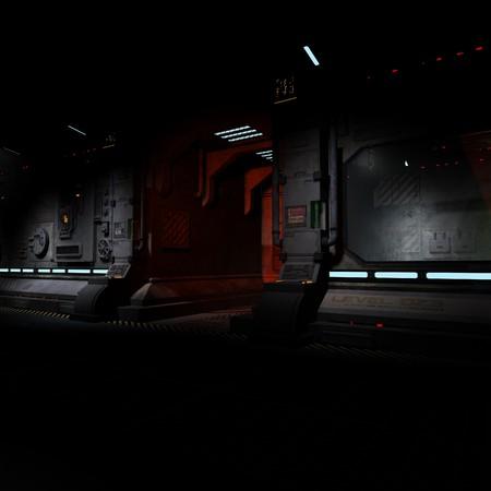 futurity: background image of a dark corridor on bord of a spaceship.