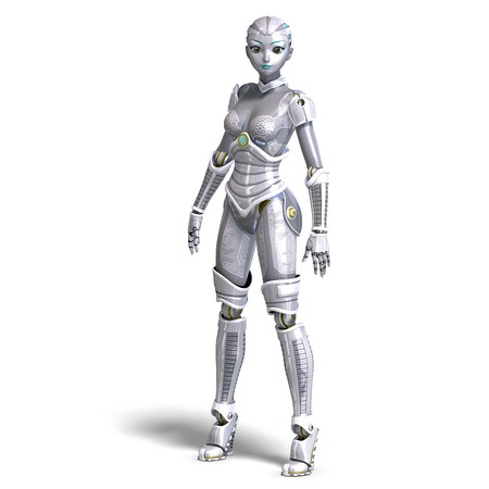 valet: female sexy metallic robot.
