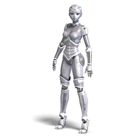 automat: female sexy metallic robot.
