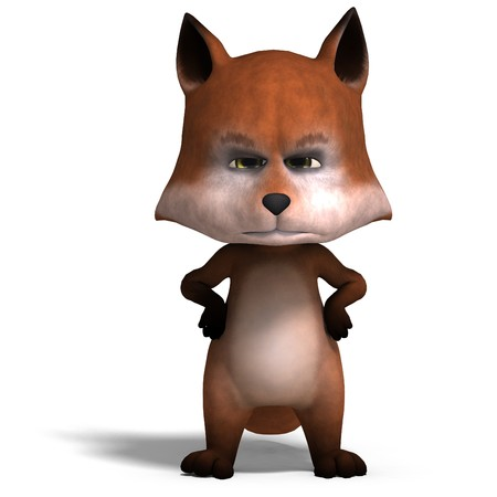 the cute cartoon fox is very smart and clever. Stock Photo