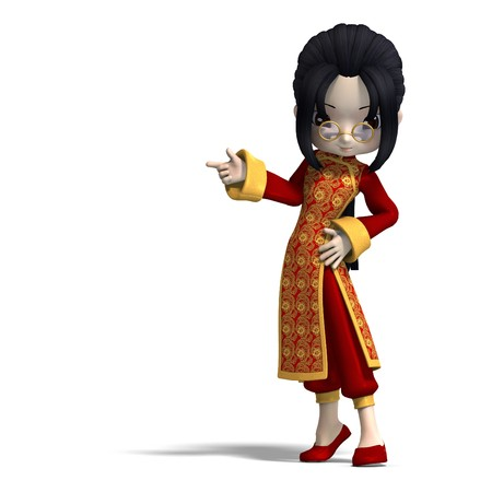 sweet cute cartoon chinagirl with glasses and red clothes.  photo