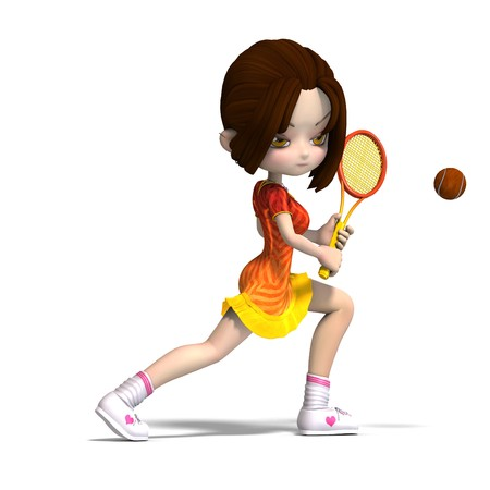 lassie: cartoon girl with racket plays tennis.  Stock Photo