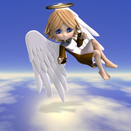 cute cartoon angel with wings and halo.
