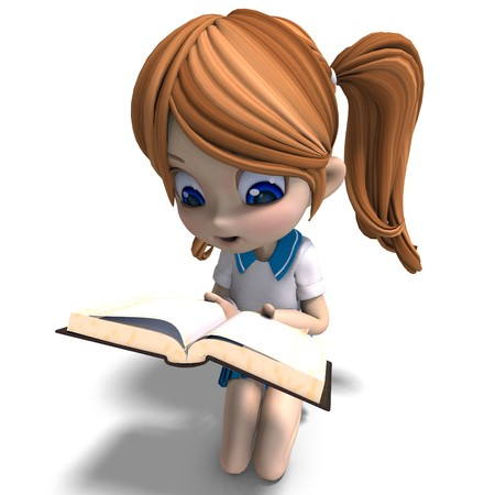 cartoon school girl: cute ni�a caricatura de escuela Lee un libro.