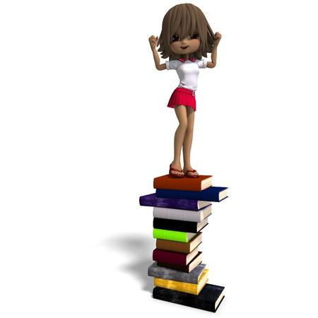 cartoon school girl: cute caricatura escuela ni�a con muchos libros.  Foto de archivo
