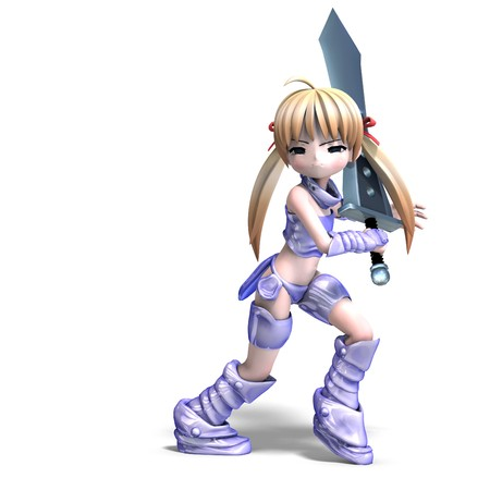 thuggish: female manga paladin with huge sword. 3D rendering