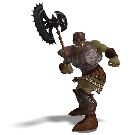diehard: Male Fantasy Orc Barbarian with Giant Axe. 3D rendering