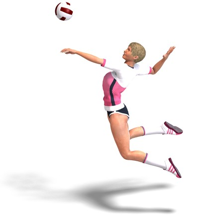 young, sporty and sexy female plays volleyball. 3D rendering  Banco de Imagens