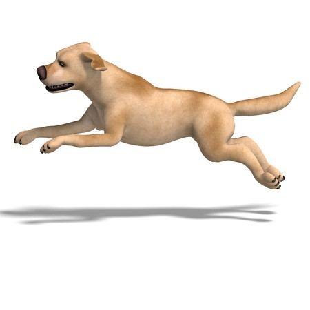 saltation: very funny cartoon dog is a little bit nuts. 3D rendering